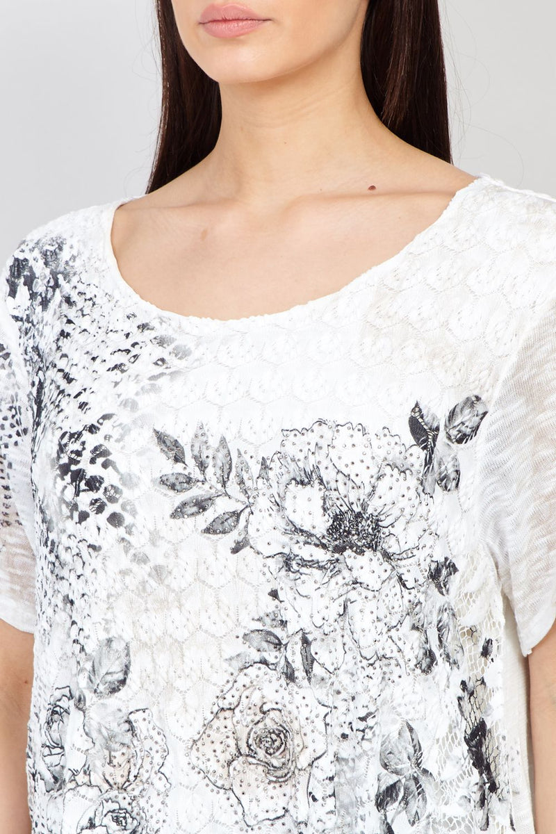 White | Floral Lace Swing Top