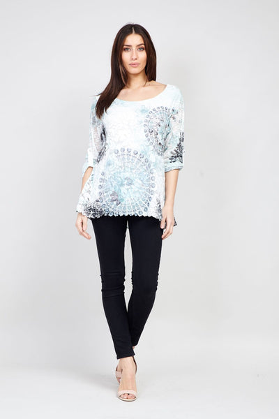 Mosaic Print Layered Top - Izabel London