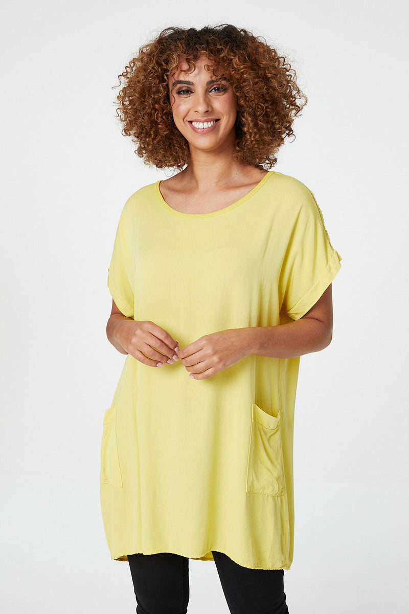 Yellow | Oversized Longline Tunic Top