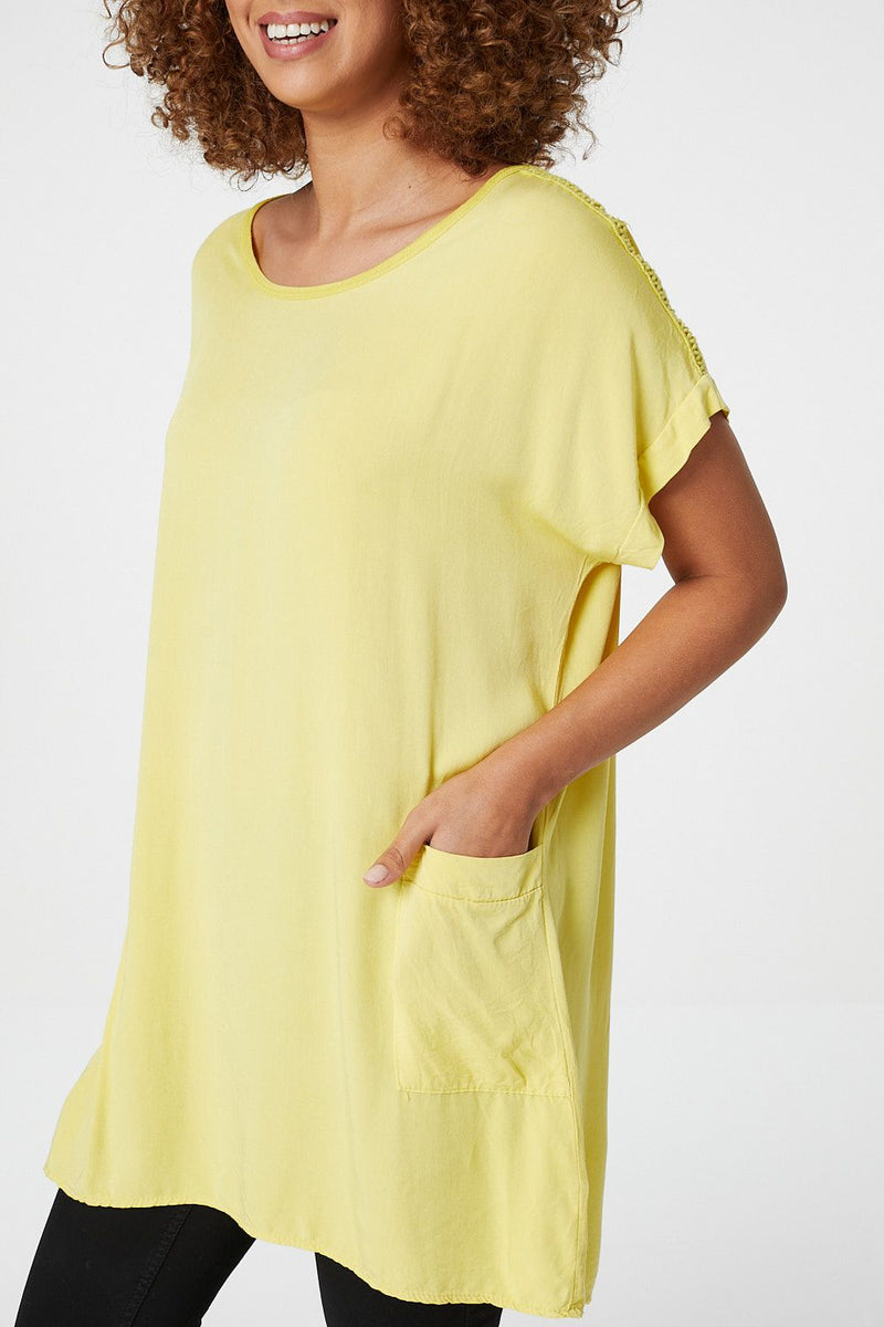 Yellow | Oversized Longline Tunic Top | Izabel London