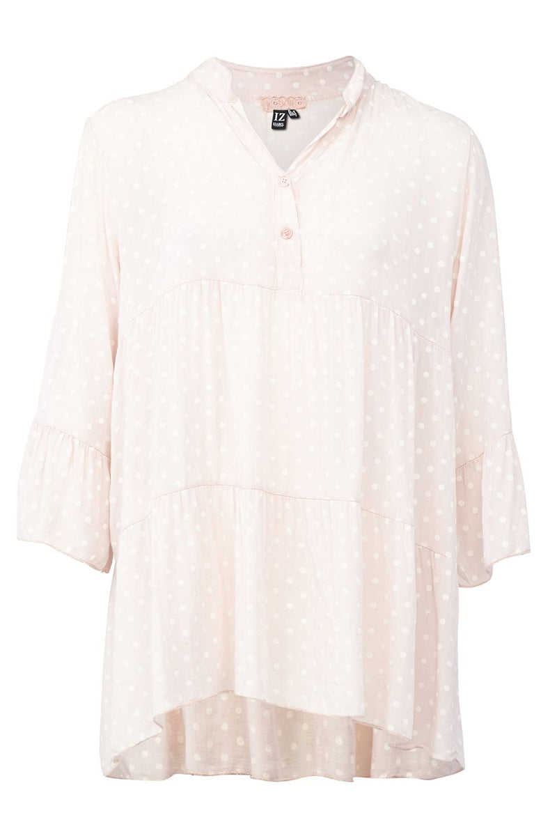 Pink | Polka Dot Sheer Blouse