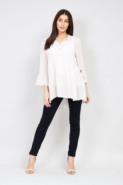 Polka Dot Sheer Blouse - Izabel London