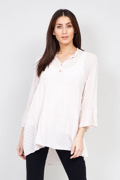 Pink | Polka Dot Sheer Blouse | Izabel London