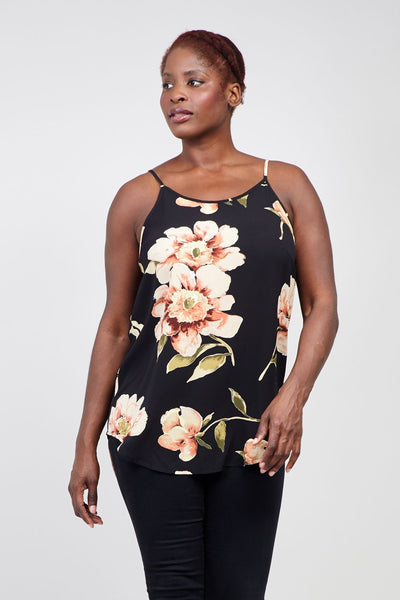 Black | Curve Floral Cami Top | Izabel London