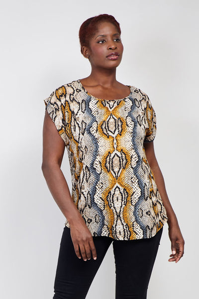 Yellow | Curve Snake Print Boxy Top | Izabel London