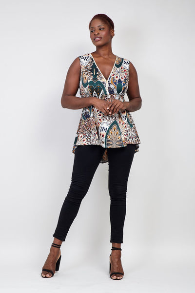 | Curve Peacock Print Peplum Top | Izabel London