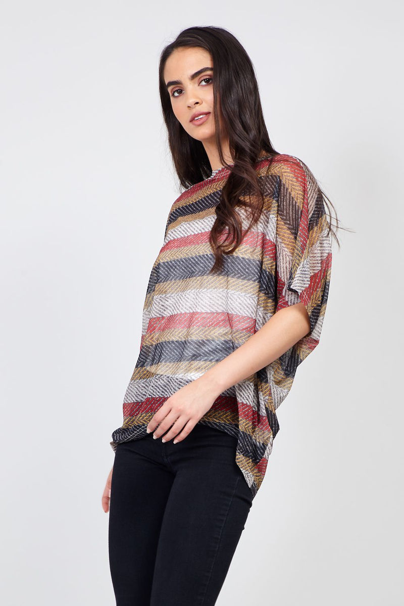 Beige | Striped Batwing Sheer Top