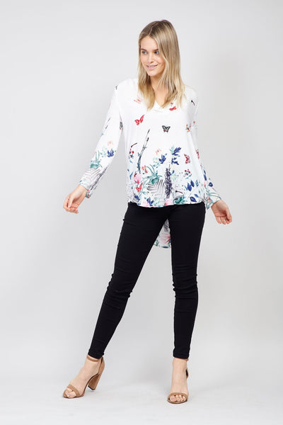 White | Floral Lightweight Blouse