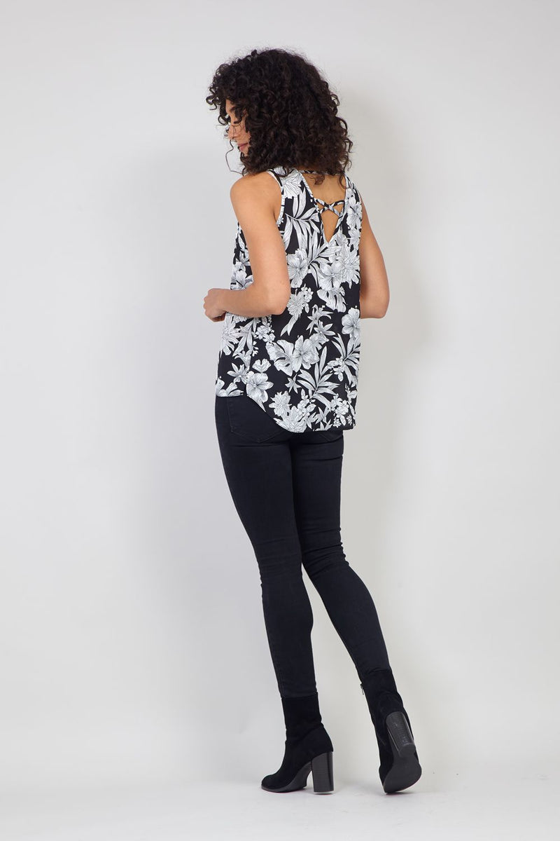 Black And White | Floral Print Cut-Out Vest