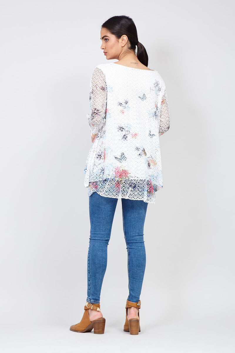 White | Floral & Crochet Layered Top