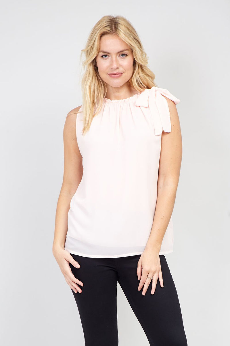Pink | Ruffle Neck Top