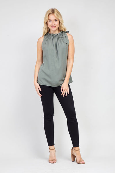 Ruffle Tie Neck Top - Izabel London
