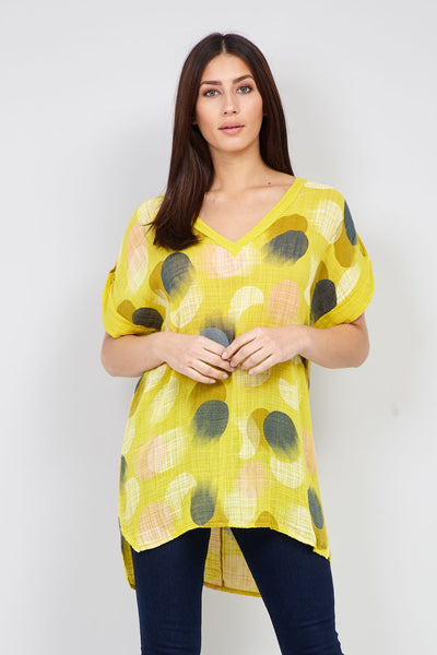 Yellow | Polka Dot Longline Top | Izabel London