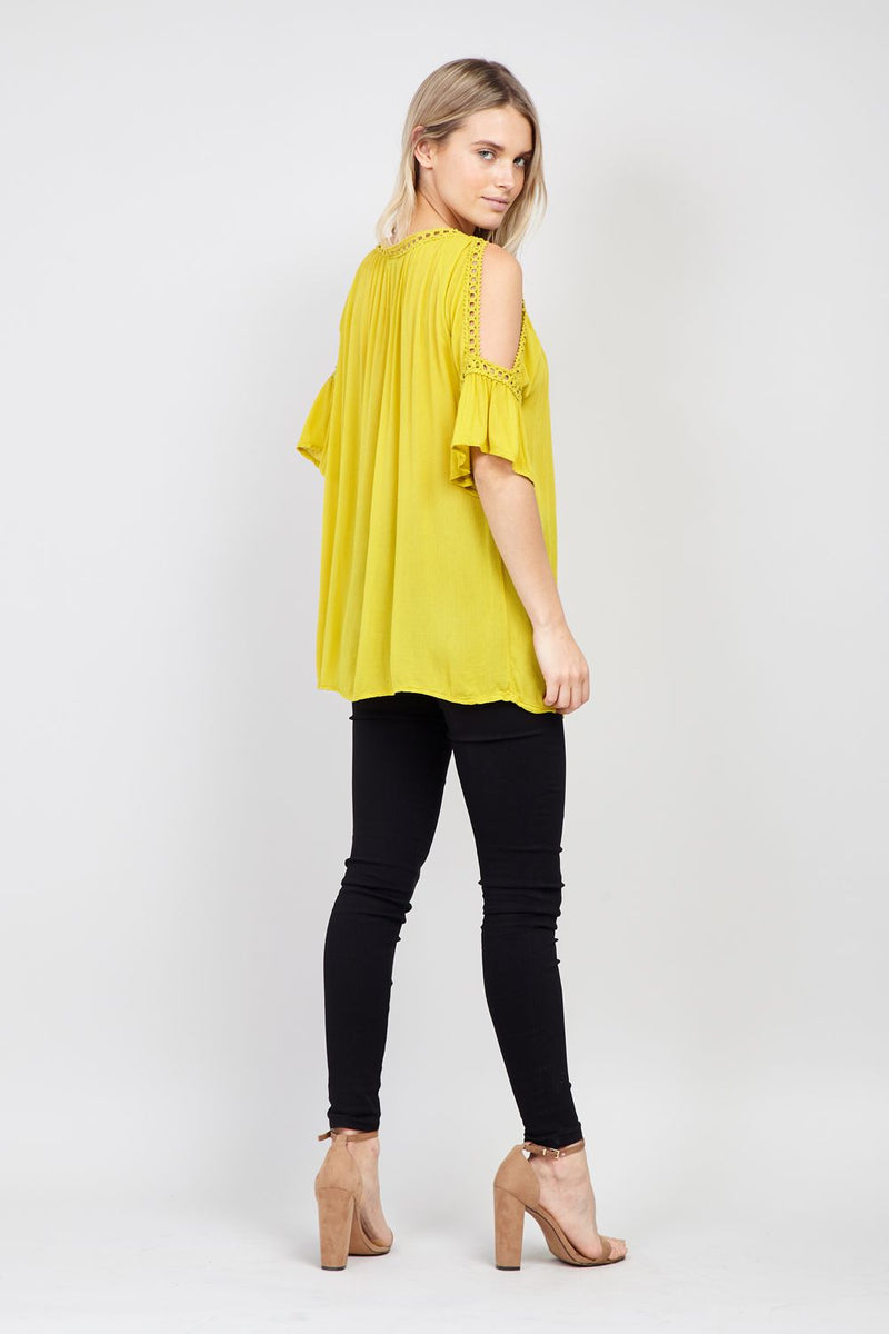 Yellow | Cold Shoulder Top