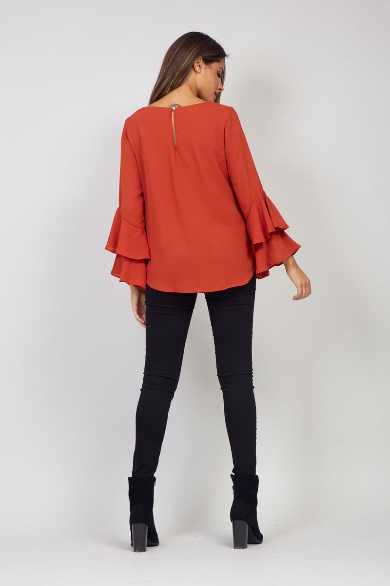 Red | Frill Sleeve Blouse