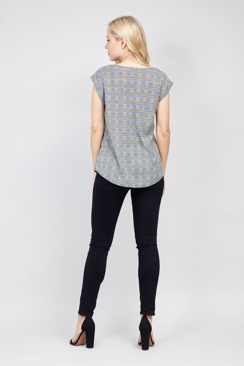 Navy | Grid Print T-Shirt