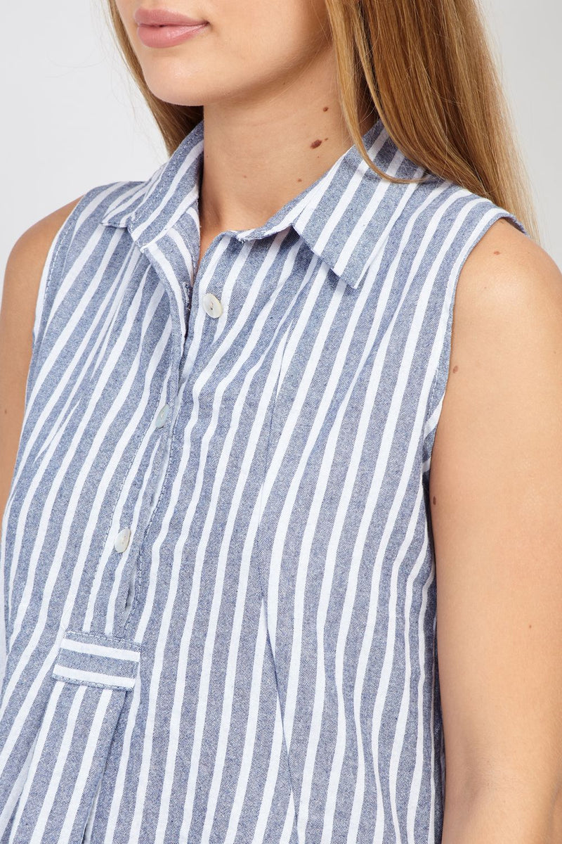 Navy | Striped Hanky Hem Shirt