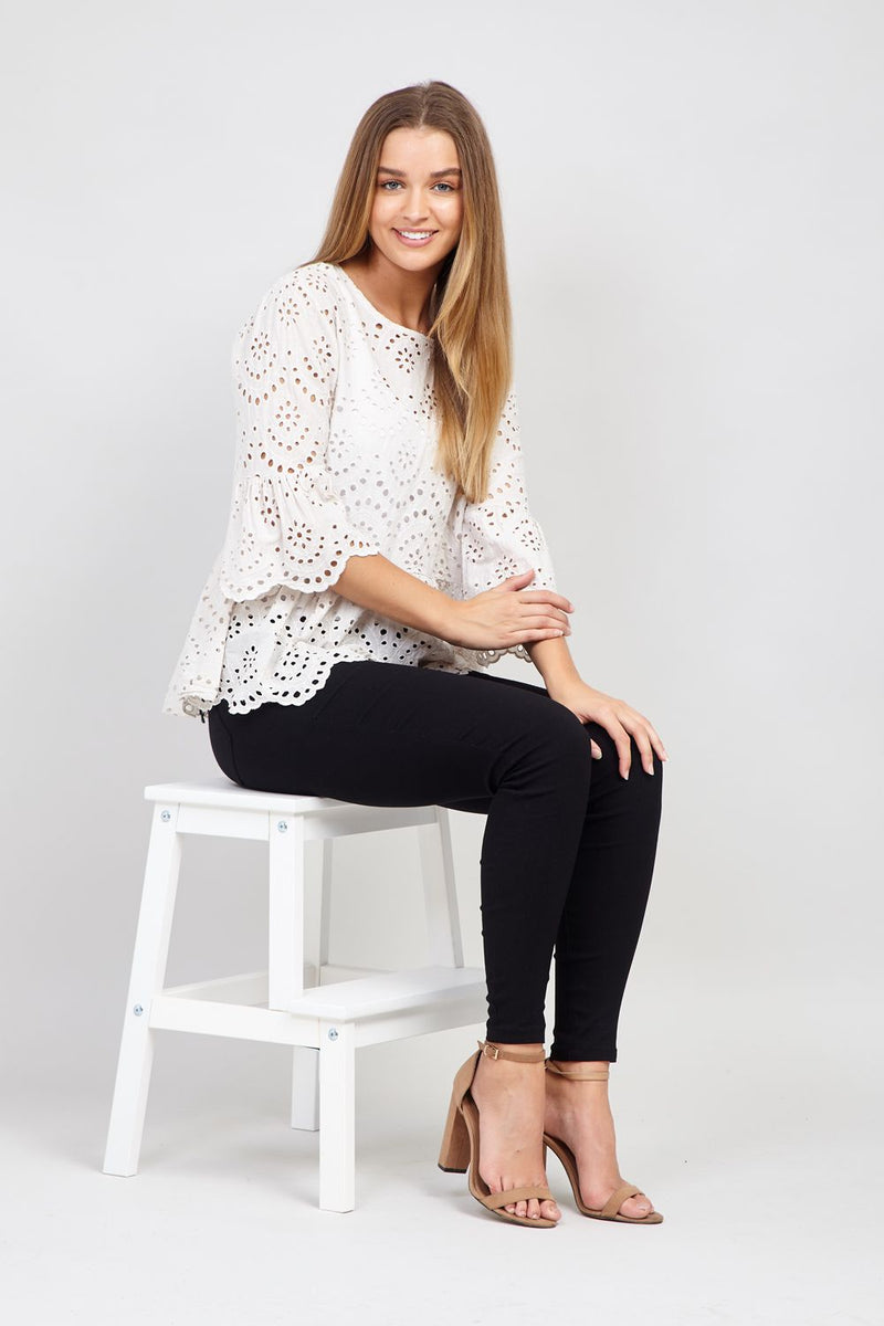 Cream | Embroidered Peplum Blouse