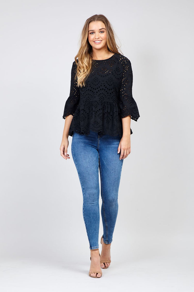 Black | Embroidered Peplum Blouse