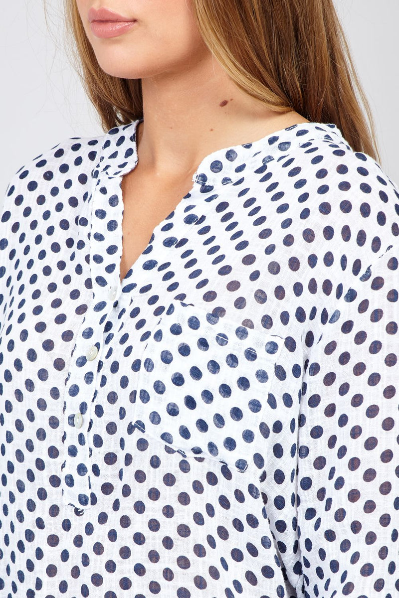 White | Polka Dot Print Shirt