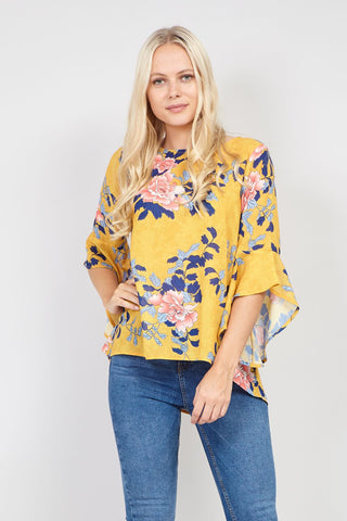 Feathered Sleeve Blouse