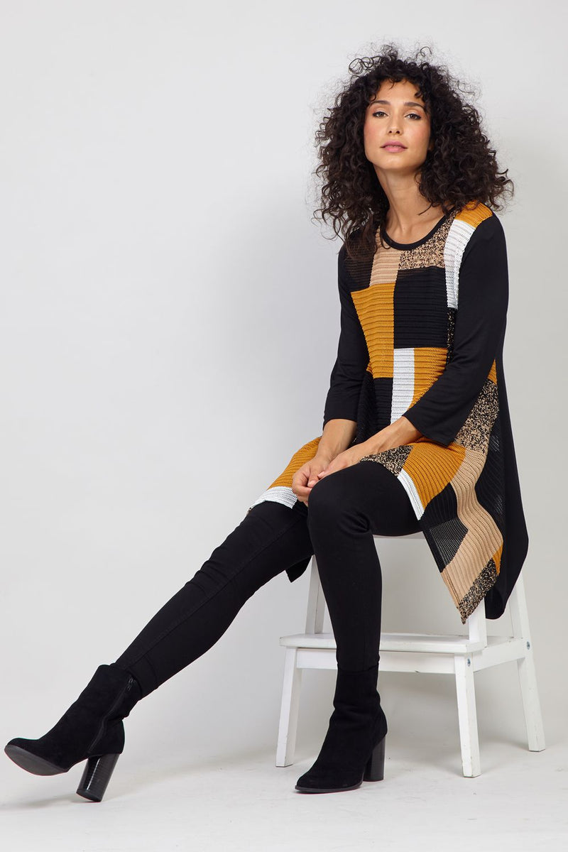 Mustard | Patchwork Asymmetric Top