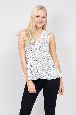 Zip Neck Peplum Top