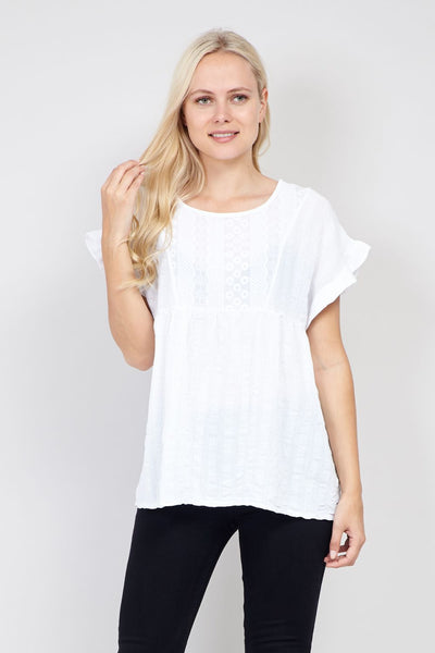 White | Embroidered Oversized T-Shirt | Izabel London