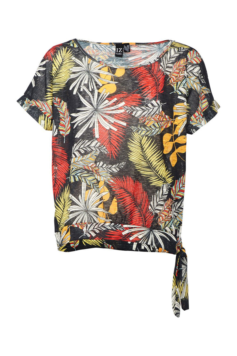 Black | Tropical Print Tee