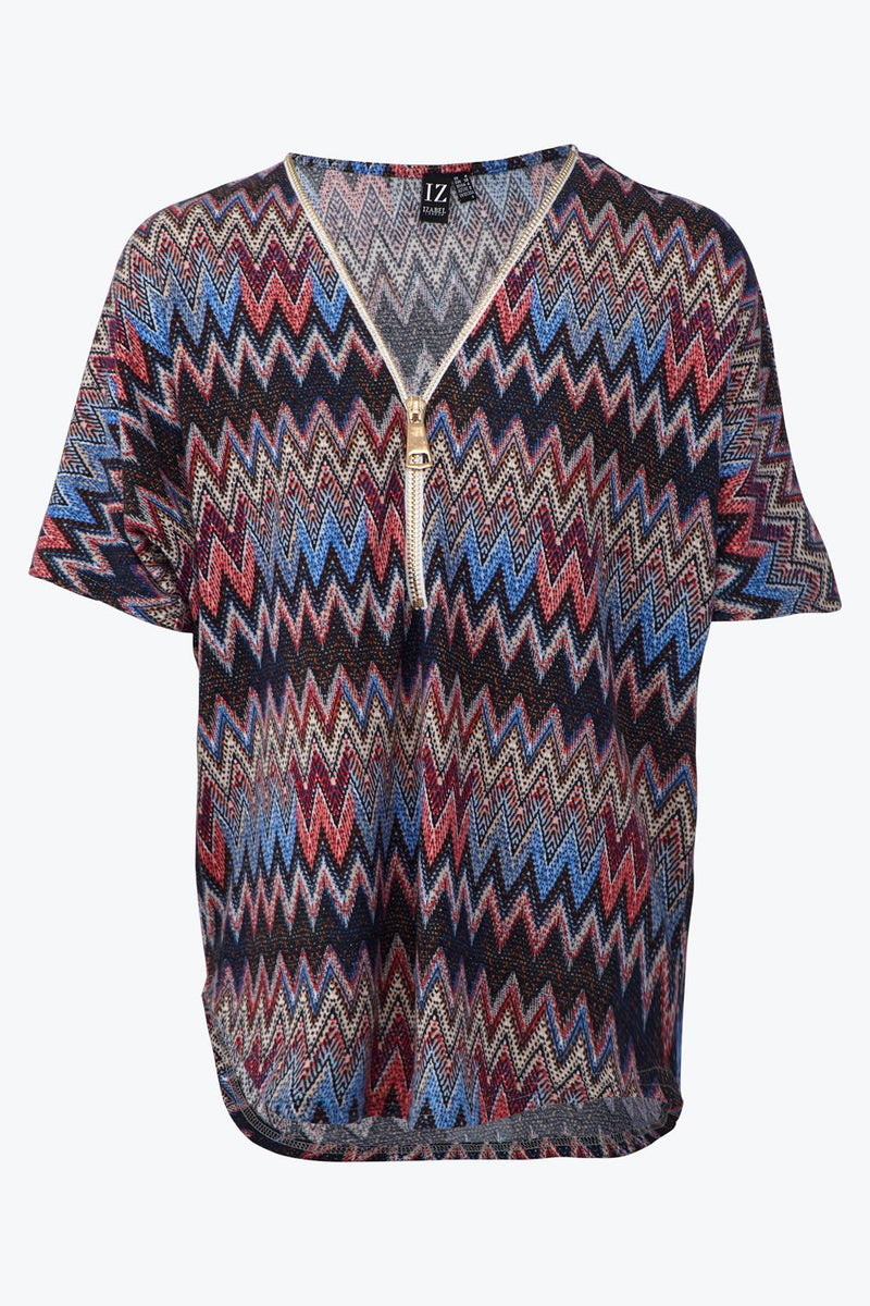 Blue | Zip Front Chevron Print Knit Top