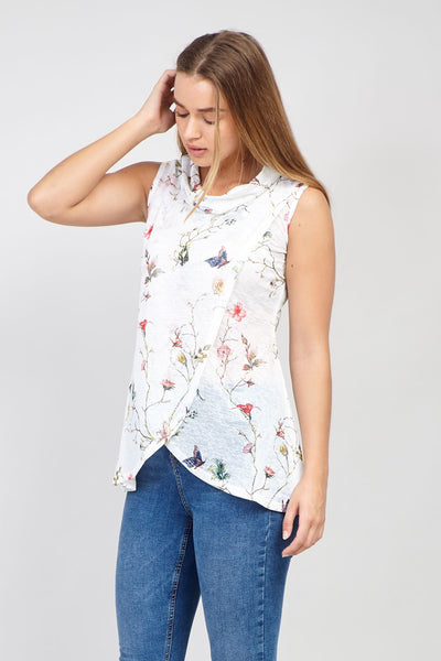 White | Butterfly Print Tunic Top
