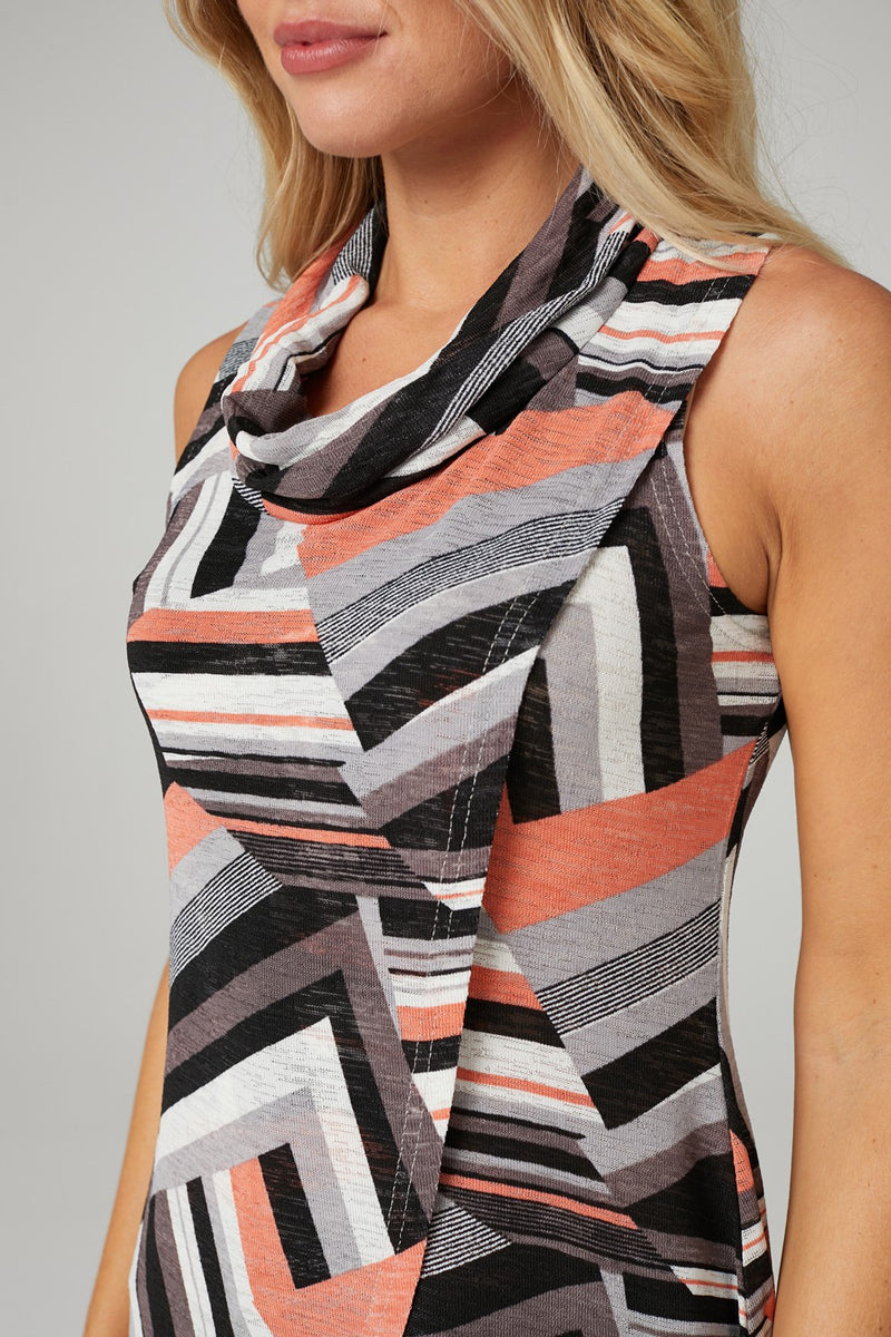 Grey | Sleeveless Wrap Front Tunic Top