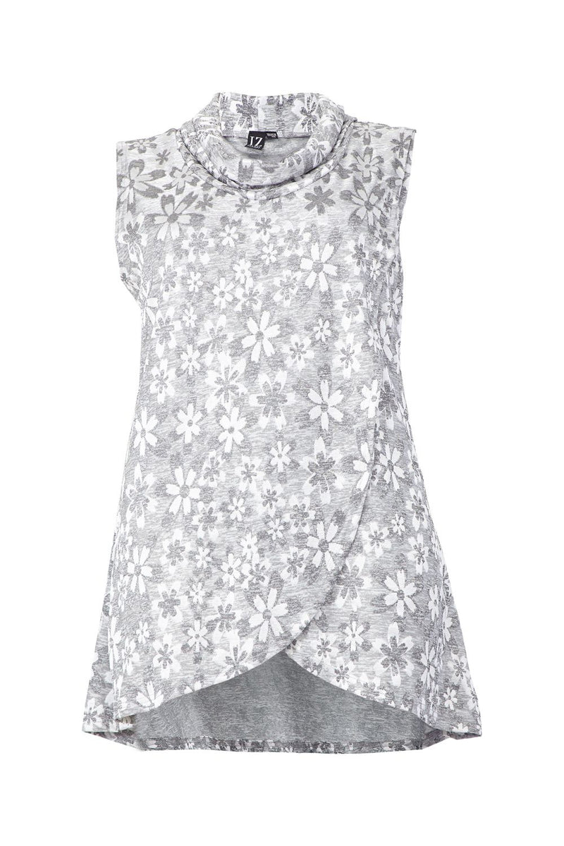 Grey | Curve Floral Roll Neck Top