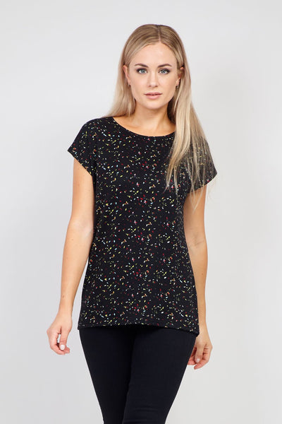 Black | Abstract Ditsy Print T-Shirt