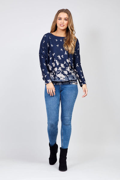 Navy | Blossom Border Print Jumper