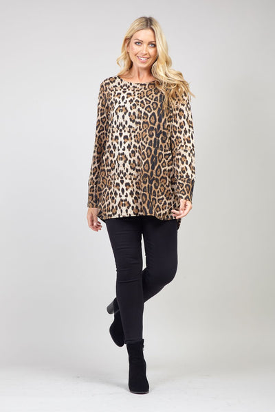 Brown | Curve Animal Print Knit Jumper