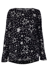 Black | Curve Star Print Knitted Jumper