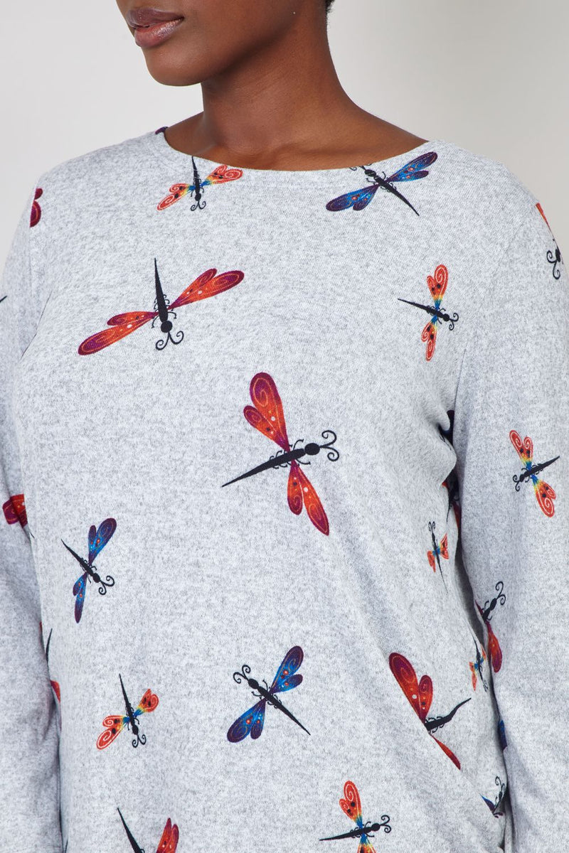 Grey | Dragonfly Print Sweater