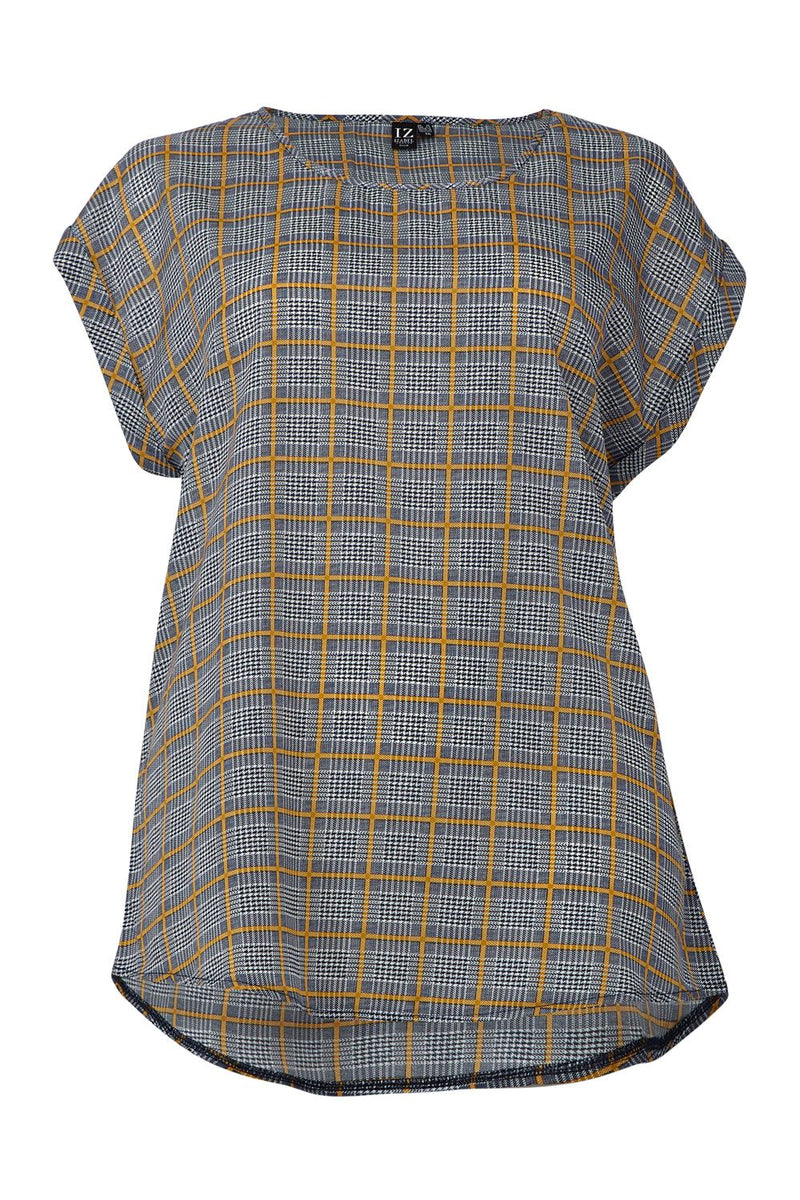 Navy | Curve Checked Boxy T-Shirt