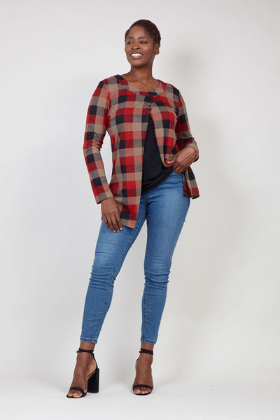 Red | Checked Split Front Top