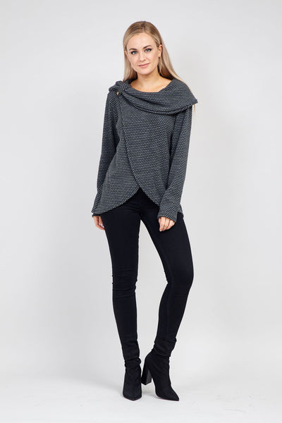Grey | Knitted Wrap Top