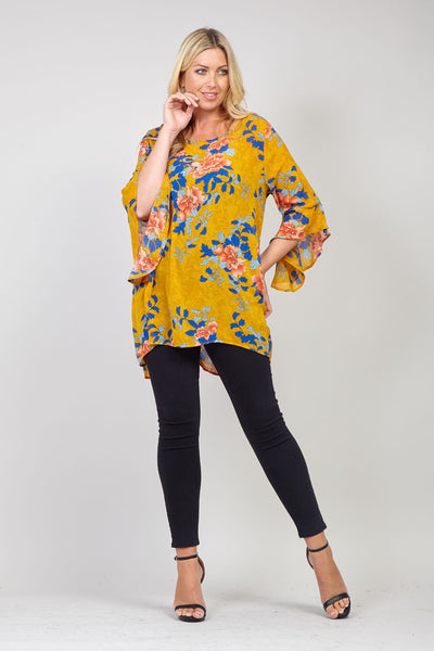 Yellow | Curve Floral Frill Sleeve Blouse