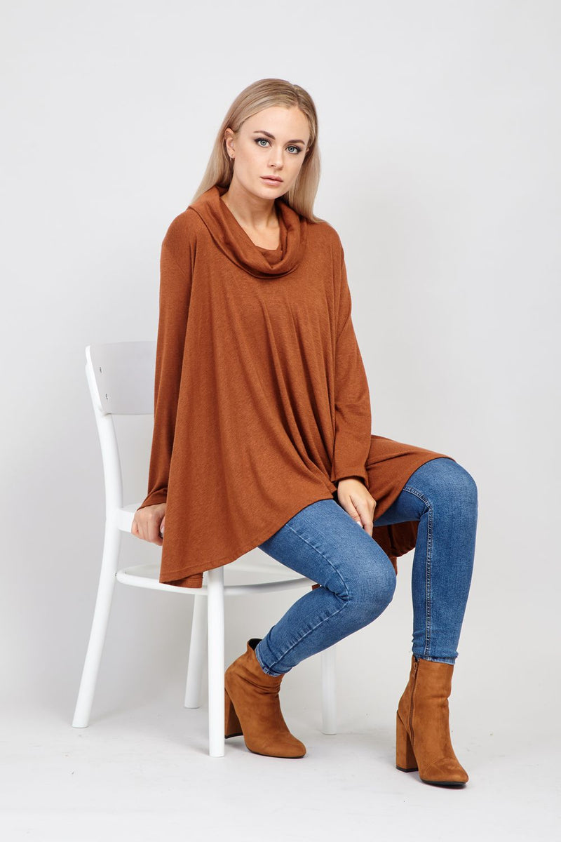 Brown | High Low Oversized Swing Top