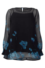 Black | Curve Floral Print Sheer Blouse