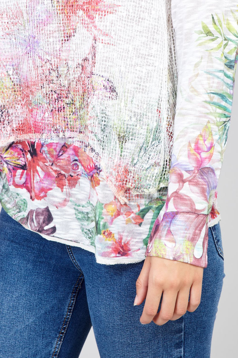 White | Floral Layered Knit Top