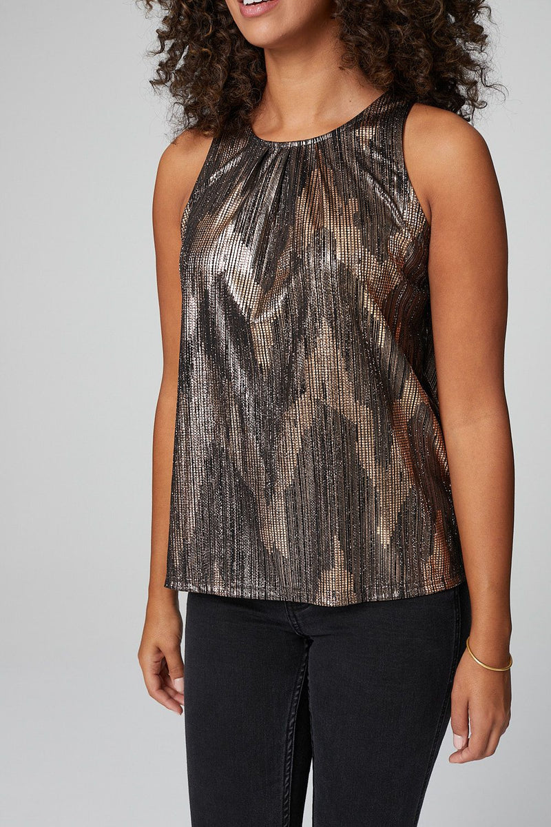 Gold | Metallic Sleeveless Vest Top