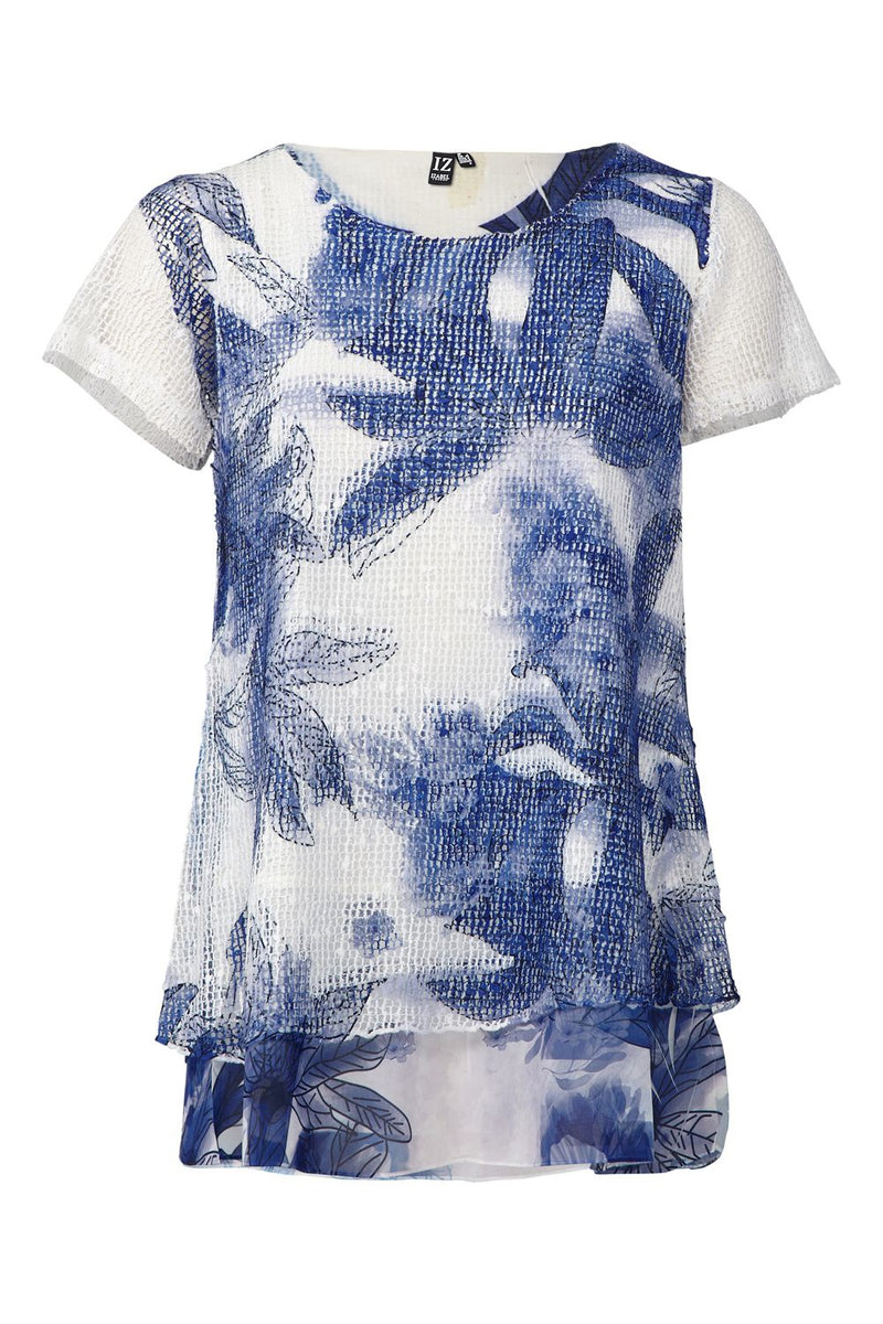 Navy | Abstract Print Layered T-Shirt