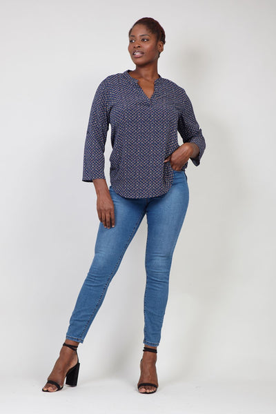 Navy | Abstract Print Collarless Blouse
