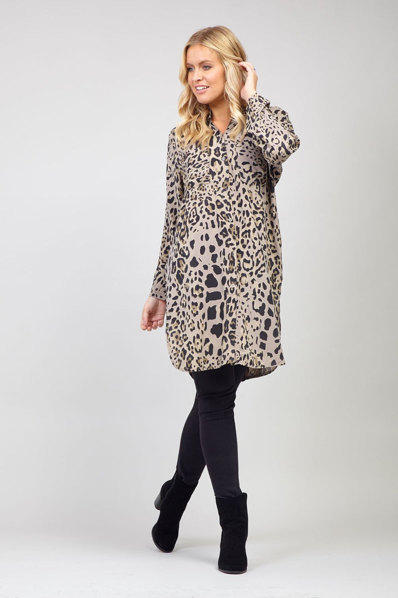Brown | Animal Print Longline Shirt