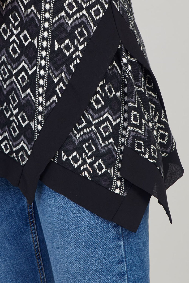 Grey | Aztec Print Hanky Hem Top